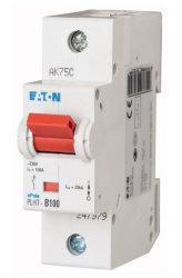 PLHT-B100 автоматический выключатель 100а, кривая отключения в, 1 полюс, откл. способность 20 ка
